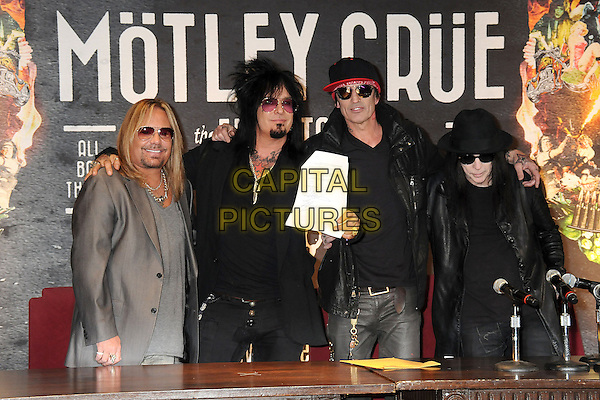 28 January 2014 - Hollywood, California -  Vince Neil, Nikki Sixx, Tommy Lee, Mick Mars, Motley Crue. Motley Crue Final Tour Announcement Press Conference held at The Roosevelt Hotel.<br /> CAP/ADM/BP<br /> &copy;Byron Purvis/AdMedia/Capital Pictures