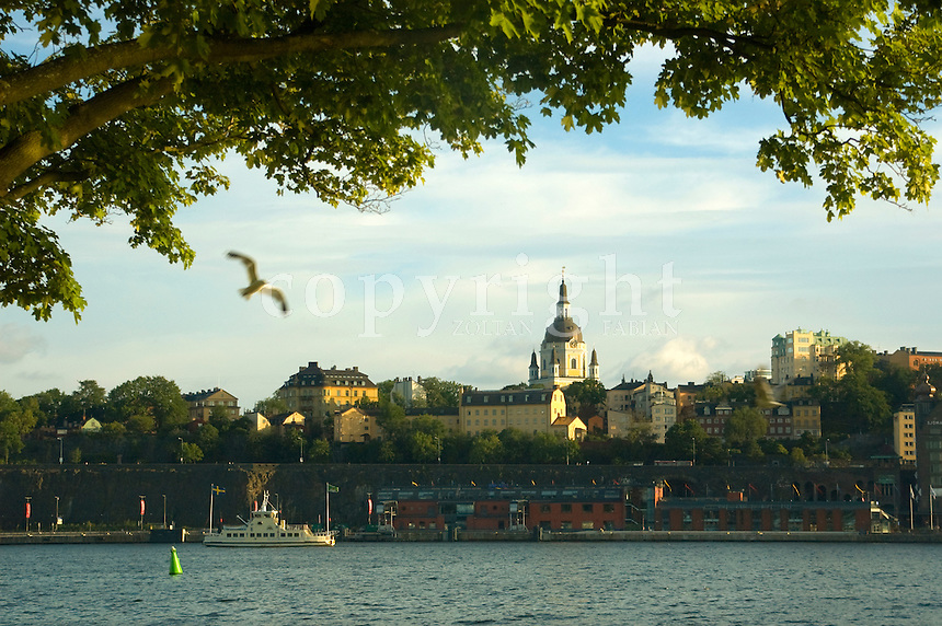 The view of Catherine Church on Södermalm from the island of Skeppsholmen in Stockholm, Sweden, Europe