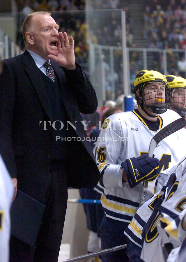 Michigan head coach Red Berensen during the Wolverines' 6-5 win over the U.S. National Under-18 Team on Saturday, February 26, 2005 at Yost Ice Arena in Ann Arbor, Mich. (Photo by TONY DING/The Michigan Daily)