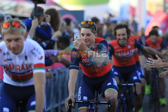 Bahrain-Merida at the Team Presentation in Alghero, Sardinia for the 100th edition of the Giro d'Italia 2017, Sardinia, Italy. 4th May 2017.<br /> Picture: Eoin Clarke | Cyclefile<br /> <br /> <br /> All photos usage must carry mandatory copyright credit (&copy; Cyclefile | Eoin Clarke)