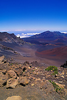 "Haleakala National Park, viewed from the western ridge line facing east at a 9,745-ft. elevation into the ""crater."" Officially it is considered an erosional depression since it was not formed from volcanic activity."
