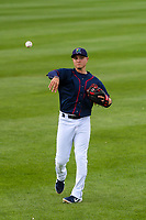 Cedar Rapids Kernels third baseman Andrew Bechtold (4) warms up in the outfield prior to a Midwest League game against the Bowling Green Hot Rods on May 2, 2019 at Perfect Game Field in Cedar Rapids, Iowa. Bowling Green defeated Cedar Rapids 2-0. (Brad Krause/Four Seam Images)