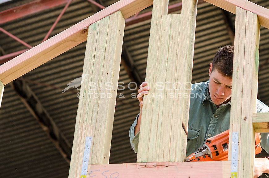 Carpenter using a nail gun on a wooden house frame inside a shed ...