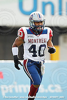 September 11, 2010; Hamilton, ON, CAN; Montreal Alouettes linebacker Diamond Ferri (40). CFL football: Montreal Alouettes vs. Hamilton Tiger-Cats at Ivor Wynne Stadium. The Alouettes defeated the Tiger-Cats 27-6. Mandatory Credit: Ron Scheffler. Copyright (c) 2010 Ron Scheffler.