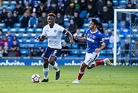 Anthony Stewart of Wycombe Wanderers and Gary Roberts of Portsmouth during the FA Cup 1st round match between Portsmouth and Wycombe Wanderers at Fratton Park, Portsmouth, England on the 5th November 2016. Photo by Liam McAvoy.