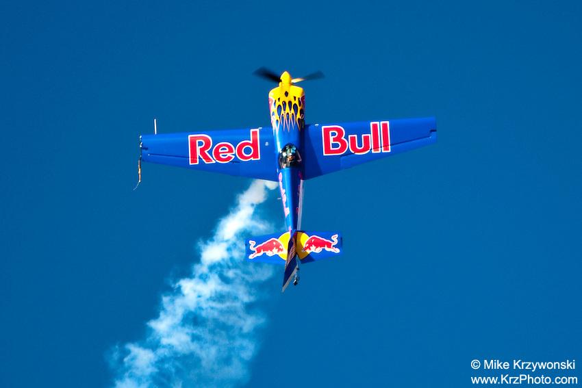Red Bull airplane performing aerobatics at the  air show at the Kaneohe Marine Base, Oahu, Hawaii