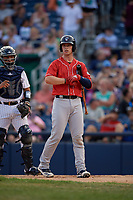 New Hampshire Fisher Cats Riley Adams (22) bats during an Eastern League game against the Trenton Thunder on August 20, 2019 at Arm & Hammer Park in Trenton, New Jersey.  New Hampshire defeated Trenton 7-2.  (Mike Janes/Four Seam Images)