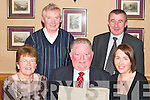 Killorglin INTO officers present Jerome Conway with a certificate in recognition of his many years of service at Jeromes retirement party in the Beaufort Bar last Friday night. Front l-r: Mairead Ui Bhric (Treasurer), Jerome Conway and Leona Twiss (Chairperson). Back l-r: Vincent Moriarty (Secretary) and Seamus Long (CEC representative)..