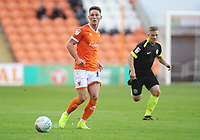 Blackpool's Jordan Thompson under pressure from Macclesfield Town's Jay Harris<br /> <br /> Photographer Kevin Barnes/CameraSport<br /> <br /> The Carabao Cup First Round - Blackpool v Macclesfield Town - Tuesday 13th August 2019 - Bloomfield Road - Blackpool<br />  <br /> World Copyright © 2019 CameraSport. All rights reserved. 43 Linden Ave. Countesthorpe. Leicester. England. LE8 5PG - Tel: +44 (0) 116 277 4147 - admin@camerasport.com - www.camerasport.com