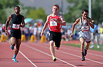 Tonopah's Scotty May, center, wins the Division IV boys 100-meter dash with a time of 11.74 during the NIAA state track and field championships at Carson High, in Carson City, Nev., on Friday, May 23, 2014. (Las Vegas Review-Journal, Cathleen Allison)