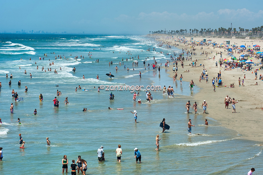 Huntington Beach, Ca, Ocean Waves, People, Beach, Swimming, Tourist, travel