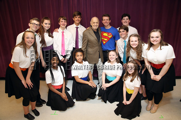 Charles Strouse and Dominic Wintz with the cast during the Children's Theatre of Cincinnati presentation for composer Charles Strouse of 'Superman The Musical' at Ripley Grier Studios on June 8, 2018 in New York City.