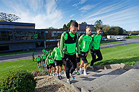 Matt Grimes, Mike van der Hoorn and Kyle Naughton of Swansea City during the Swansea City Training Session at The Fairwood Training Ground in Swansea, Wales, UK. Wednesday 16 October 2019