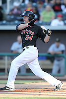 Jamie Hoffmann #34 of the Albuquerque Isotopes plays in a Pacific Coast League game against the Omaha Storm Chasers at Isotopes Park on May 3, 2011  in Albuquerque, New Mexico. .Photo by:  Bill Mitchell/Four Seam Images.