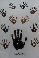Handprints of Nelson Mandela, Saxon Hotel, Johannesburg, South Africa.