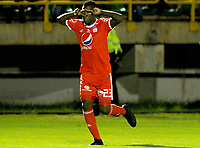 TUNJA - COLOMBIA, 07-10-2018: Jefferson Cuero (Izq) jugador de America de Cali celebra después de anotar el primer gol de su equipo a Boyacá Chicó FC durante partido por la fecha 13 Liga Águila II 2018 realizado en el estadio La Independencia en Tunja. / Jefferson Cuero player of America de Cali celebrates after scoring the first goal of his team to Boyaca Chico FC during match for the date 13 of Aguila League II 2018 played at La Independencia stadium in Tunja. Photo: VizzorImage / Julian Medina / Cont
