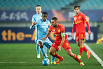 Adelaide United Defender Tarek Elrich (R) fights for the ball with Jiangsu FC Midfielder Ramires Santos (L) in action during the AFC Champions League 2017 Group H match between Jiangsu FC (CHN) vs Adelaide United (AUS) at the Nanjing Olympics Sports Center on 01 March 2017 in Nanjing, China. Photo by Marcio Rodrigo Machado / Power Sport Images