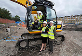 This image is free to use - Keith Brown  Minister for Housing and Transport  laid the foundation stone and visited the site of the major new Affordable housing development under construction for Queens Cross Housing Association at Oban Drive  Glasgow. With Mr Brown at the £14.28m 128 home site (formerly the North Kelvinside School) for the ceremony were John Gray (Chairman Queens Cross Housing Association) and Shona Stephen (Ch Exec Queens Cross Housing Association) - for further information please contact Margaret Brannan (Communications Manager QXHA on 0141 589 7349 / 07791 461 154) - Picture by Donald MacLeod - 22.08.11 - 07702 319 738 - www.donald-macleod.com