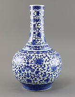 BNPS.co.uk (01202 558833)<br /> Pic: Gorringes/BNPS<br /> <br /> Small chinese flower vase, estimated at £500...Sold for £340,000!<br /> <br /> A Chinese vase that has been used for years to keep flowers in has sold for a whopping £340,000 - almost 700 times what it had been expected to.<br /> <br /> The blue and white bottle vase was brought in to an auction house in a box of items by its owners.<br /> <br /> Experts found traces of old dirt inside, suggesting it had been used to keep flowers or even a plant.<br />  <br /> However, on the base was a six character seal mark suggesting it dated back to the time of the Daoguang Emperor who reigned from 1820 to 1850 in Imperial China.<br /> <br /> The indication was enough to excite bidders in China who flooded auctioneers Gorringe's of West Sussex with interest.