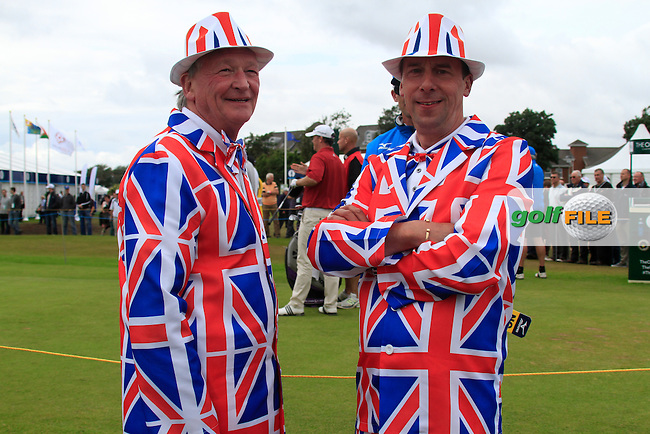 Patriotic fans during Thursday's Round 1 of the 141st Open Championship at Royal Lytham & St.Annes, England 19th July 2012 (Photo Eoin Clarke/www.golffile.ie)