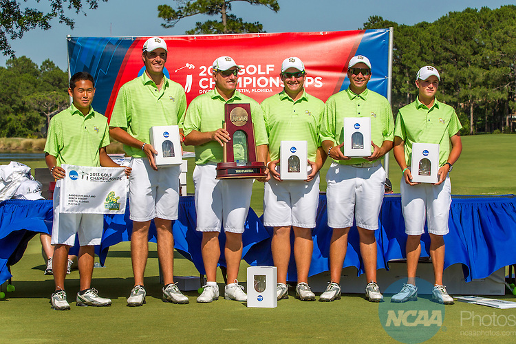 17 MAY 2013:  Methodist University with their 3rd place trophy in the Division III Men's Golf Championship held at the Sandestin Golf and Beach Resort Raven Course in Destin, FL.  Mark Wallheiser/NCAA Photos