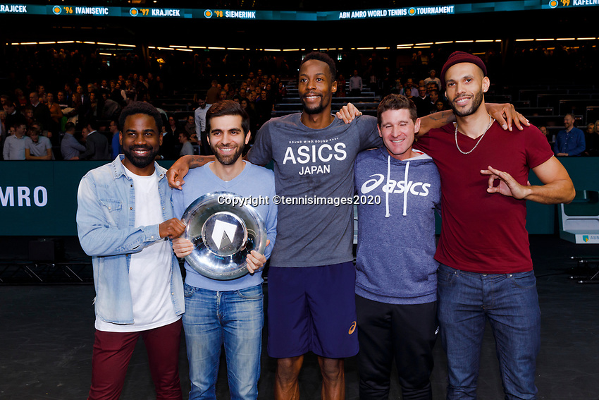 Rotterdam, The Netherlands, 16 Februari 2020, ABNAMRO World Tennis Tournament, Ahoy,<br /> Mens Single Final: Gaël Monfils (FRA) with his friends<br /> Photo: www.tennisimages.com