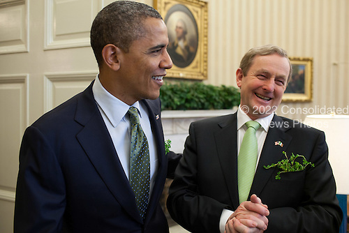 United States President Barack Obama meets with Taoiseach Enda Kenny of Ireland in the Oval Office, March 20, 2012. .Mandatory Credit: Pete Souza - White House via CNP