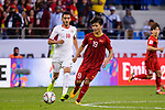 Nguyen Quang Hai of Vietnam (R) fights for the ball with Ahmad Sameer Saleh of Jordan (L) during the AFC Asian Cup UAE 2019 Round of 16 match between Jordan (JOR) and Vietnam (VIE) at Al Maktoum Stadium on 20 January 2019 in Dubai, United Arab Emirates. Photo by Marcio Rodrigo Machado / Power Sport Images