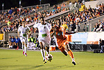 30 October 2010: Puerto Rico's Richard Martinez (left) and Carolina's Matt Watson (right). The Puerto Rico Islanders won the 2010 USSF-D2 championship 3-1 on aggregate goals after playing the Carolina RailHawks to a 1-1 tie in the second leg of the Finals in a game played at WakeMed Stadium in Cary, North Carolina.