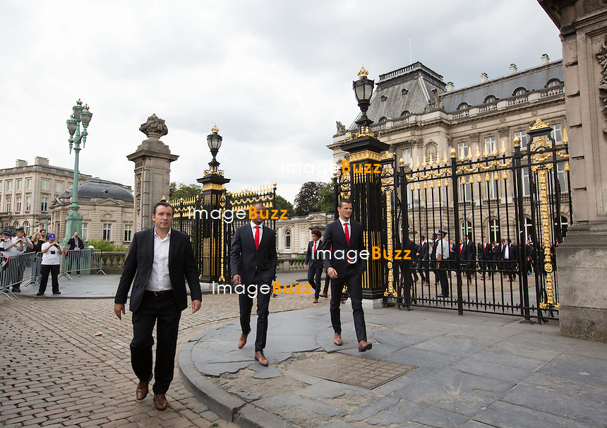 King Philippe of Belgium and Queen Mathilde of Belgium welcome Belgian national soccer team Red Devils at the royal palace in Brussels, Monday 07 July 2014. On Saturday the Red Devils were knocked out of the 2014 FIFA World Cup in Brazil, they lost the quarter final match against Argentina.<br /> Belgium, Brussels, July 7, 2014.