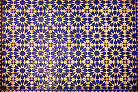 Berber Zellige decorative tiles inside the Riad of the Kasbah Telouet, Atlas Mountains, Morocco.