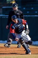 Catcher Steve Sulcoski #17 of the Shippensburg Red Raiders chases down a wild pitch on February 14, 2010 in Salisbury, North Carolina.  Photo by Brian Westerholt / Four Seam Images