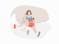 Exhausted runner resting
