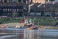 Mortlake/Chiswick, GREATER LONDON. United Kingdom. 20170402 Gloriana and Flotilla, move down the Championship Course, prior to the races. Putney to Mortlake on the River Thames. <br /> <br /> Sunday  02/04/2017<br /> <br /> [Mandatory Credit; Peter SPURRIER/Intersport Images]