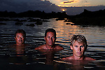 HALEIWA - JULY 29:  (R-L) Legendary Watermen Terry Ahui, Brian Keaulana, and Jamie Mitchell pose for a portrait during a photo shoot for ESPN the Magazine on July 29, 2009 at Sharks Cove in Haleiwa, Oahu, Hawaii.  (Donald Miralle)