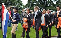 Blair Atholl, Scotland, UK. 8th September, 2015. Longines  FEI European Eventing Championships 2015, Blair Castle.Opening Ceremony Team NED © Julie Priestley