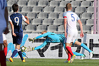 England goalkeeper, Ryan Schofield, makes a fine save to foil Scotland's Ryan Hardie during England Under-18 vs Scotland Under-20, Toulon Tournament Semi-Final Football at Stade Parsemain on 8th June 2017