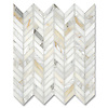 Chevron, shown in polished Calcatta Gold is part of New Ravenna's Studio Line of ready to ship mosaics.