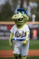 Rancho Cucamonga Quakes mascot Tremor entertains the crowd before a California League game against the Lake Elsinore Storm at LoanMart Field on May 20, 2018 in Rancho Cucamonga, California. Rancho Cucamonga defeated Lake Elsinore 6-2. (Zachary Lucy/Four Seam Images)