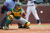 Baylor Bears catcher Josh Ludy #30 behind the plate during the NCAA Regional baseball game against Oral Roberts University on June 3, 2012 at Baylor Ball Park in Waco, Texas. Baylor defeated Oral Roberts 5-2. (Andrew Woolley/Four Seam Images)