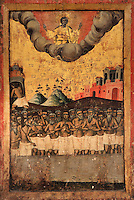 Icon of the Forty Martyrs by 2nd generation of Cetiri, early 19th century, from the Cathedral of the Virgin Mary, now housed in the National Onufri Museum in the Cathedral of the Virgin Mary inside Berat Castle or Kalaja e Beratit, in Berat, South-Central Albania, capital of the District of Berat and the County of Berat. The cathedral was built in 1797 on the foundations of an older church and its museum is named after Onufri or Onouphrios of Neokastro, Albania's famous 16th century icon painter. The museum comprises the main nave, the altar area, and several rooms in the North and West of the church. Picture by Manuel Cohen