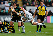 9th September 2017, Franklins Gardens, Northampton, England; Aviva Premiership Rugby, Northampton Saints versus Leicester Tigers; Nic Groom of Northampton Saints is tackled by Dominic Ryan of Leicester Tigers