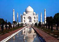 The Taj Mahal reflected in the reflecting pool. Agra, India.