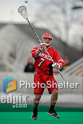1 April 2008: Fairfield University Stags' Defenseman Matt Scanlon, a Senior from Bel Air, MD, in action against the University of Vermont Catamounts at Moulton Winder Field, in Burlington, Vermont. The Catamounts rallied to overcome a five goal deficit and defeat the visiting Stags 9-8 notching their third win of the season...Mandatory Photo Credit: Ed Wolfstein Photo