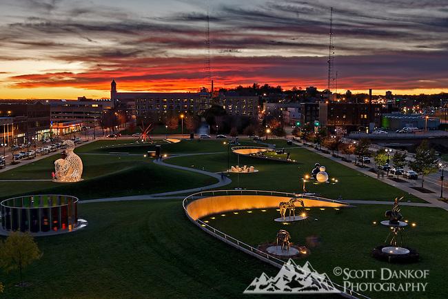 Sunset over the Papa John Sculpture Park in Des Moines, Iowa.