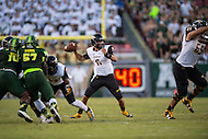 Tampa, FL - September 4th, 2016: Tigers quarterback Morgan Mahalak (6) in the pocket during game against USF at Raymond James Stadium in Tampa, FL. (Photo by Phil Peters/Media Images International)