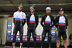Erik Baska, Jan Andrej Cully, Peter and Juraj Sagan of Slovakia at sign on before the Men Elite Road Race of the UCI World Championships 2019 running 280km from Leeds to Harrogate, England. 29th September 2019.<br /> Picture: Eoin Clarke | Cyclefile<br /> <br /> All photos usage must carry mandatory copyright credit (© Cyclefile | Eoin Clarke)
