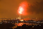 Washington DC; USA: July 4 Fireworks and icons, as seen from Arlington VA venue, Top of the Town.Photo copyright Lee Foster Photo # 16-washdc82917