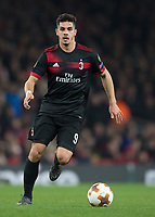 André Silva of AC Milan during the UEFA Europa League round of 16 2nd leg match between Arsenal and AC Milan at the Emirates Stadium, London, England on 15 March 2018. Photo by Vince  Mignott / PRiME Media Images.