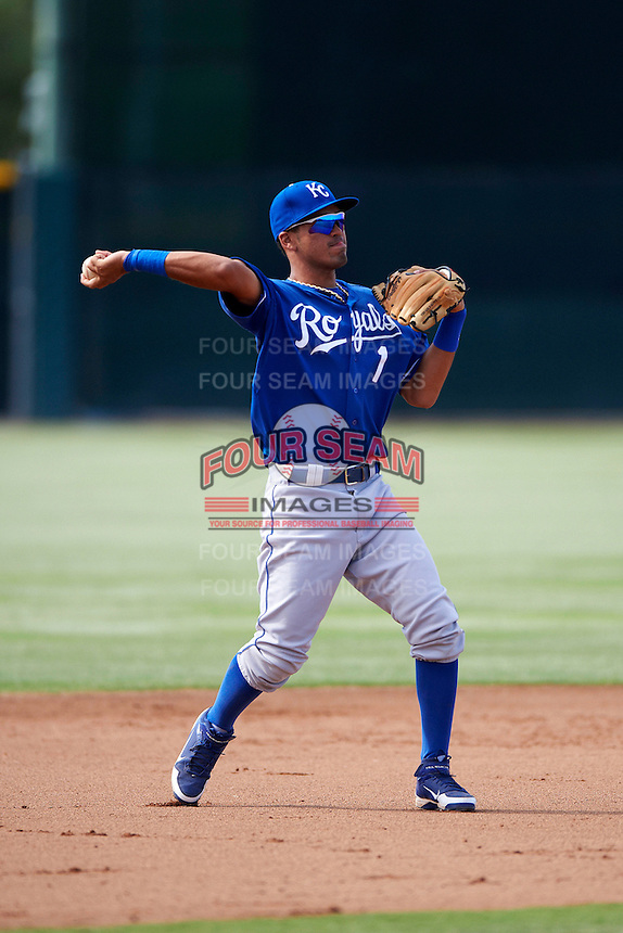 Kansas City Royals minor league infielder Humberto Arteago #1 during an instructional league game against the San Francisco Giants at the Giants Baseball Complex on October 18, 2012 in Scottsdale, Arizona. (Mike Janes/Four Seam Images)